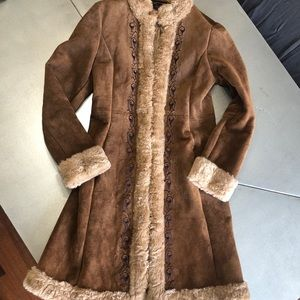 🌟GUESS genuine LEATHER /FUR/Embroidery JACKET M